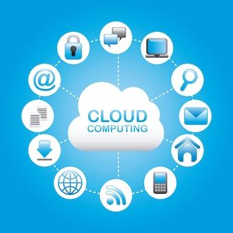 Cloud computing sur illustration vectorielle fond bleu