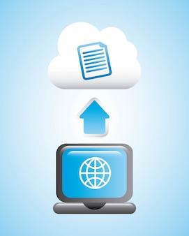 Le cloud computing sur illustration vectorielle fond bleu