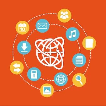 Le cloud computing sur illustration vectorielle fond orange