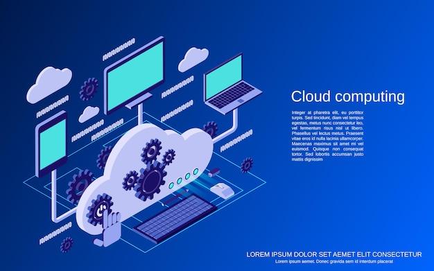 Cloud computing, réseau, traitement de données illustration de concept de vecteur isométrique plat
