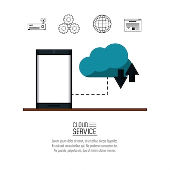 Cloud computing service icône vector illustration graphisme