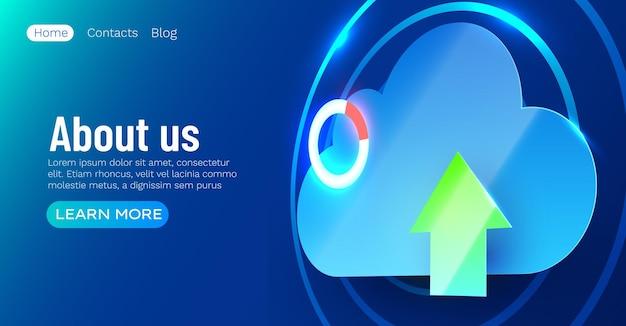 Cloud computing stockage en ligne big data information future technologie de commerce internet moderne bleu brillant échange de fichiers mondial