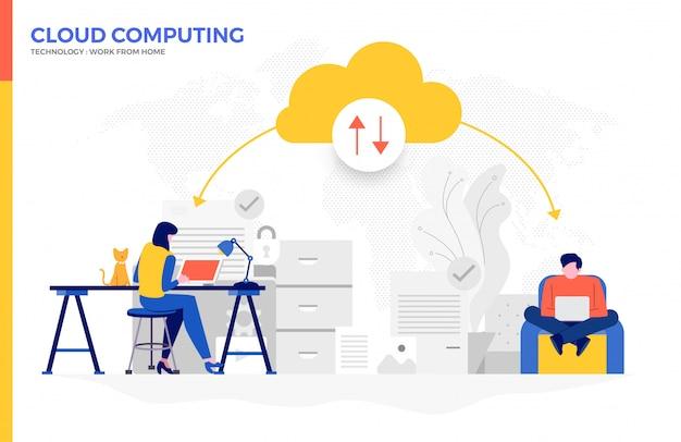 Cloud Computiong Pour Le Travail à Domicile 04 Vecteur Premium