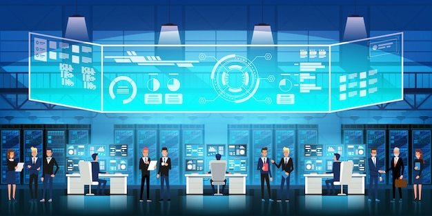 Cloud data center salle de serveurs avec personnel technique. organigramme, racks de serveurs et illustration d'affichage virtuel