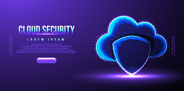 Cloud shield security low poly wireframe