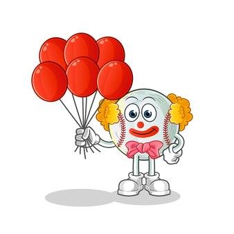 Clown de baseball avec illustration de ballons