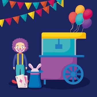 Clown de cirque avec chariot de pop corn