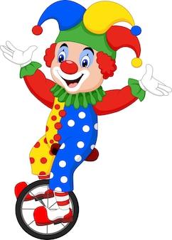 Clown dessin animé, équitation, une, roue, vélo
