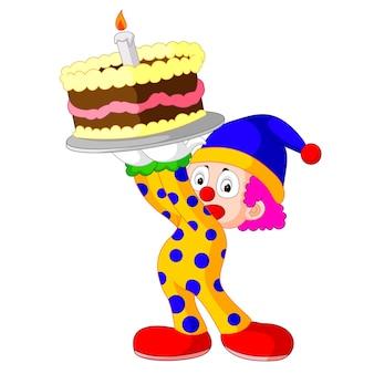 Clown de dessin animé avec gâteau