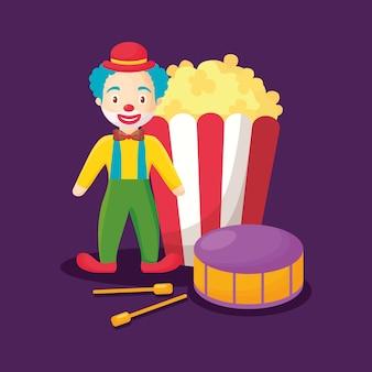 Clown de dessin animé avec pop corn et tambour
