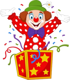 Clown de dessin animé sautant de la boîte