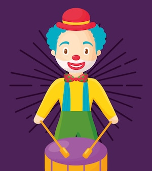 Clown de dessin animé avec tambour