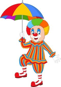 Clown drôle de dessin animé tenant un parapluie