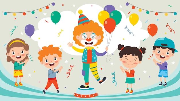 Clown drôle et enfants heureux jouant