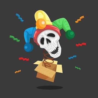 Le clown du crâne du jour du poisson d'avril sort de la boîte.