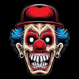 Clown effrayant avec un chapeau rouge