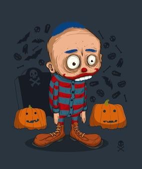 Clown étrange déçu par la fête d'halloween trop gai