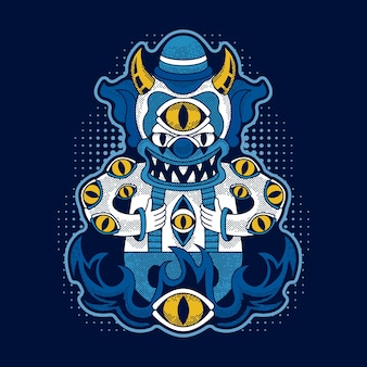 Clown maléfique isolé sur bleu