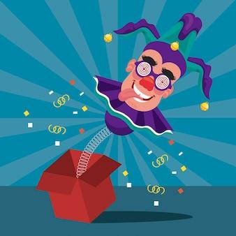 Clown portant un chapeau et un masque de joker dans une boîte surprise et une illustration de confettis