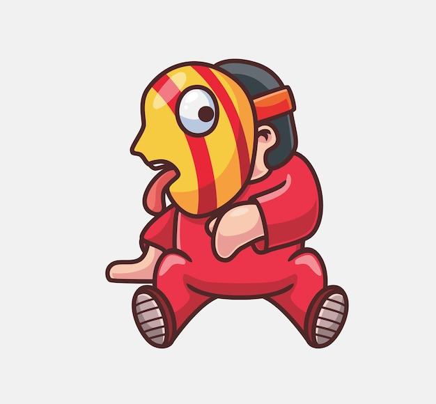 Clown rouge mignon avec le masque illustration d'halloween de dessin animé isolé style plat