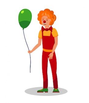 Clown souriant tenant une illustration vectorielle ballon