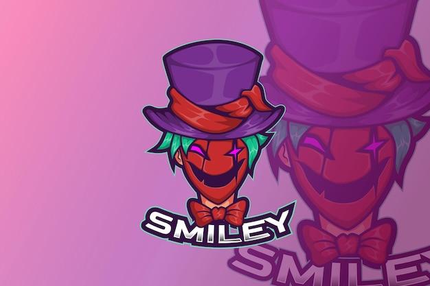 Clown de sourire de conception de logo de sport d'e