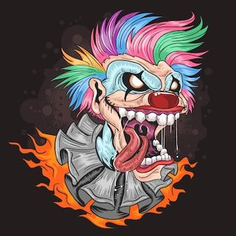 Clown unicorn cheveux pleins couleurs avec des oeuvres de sourire