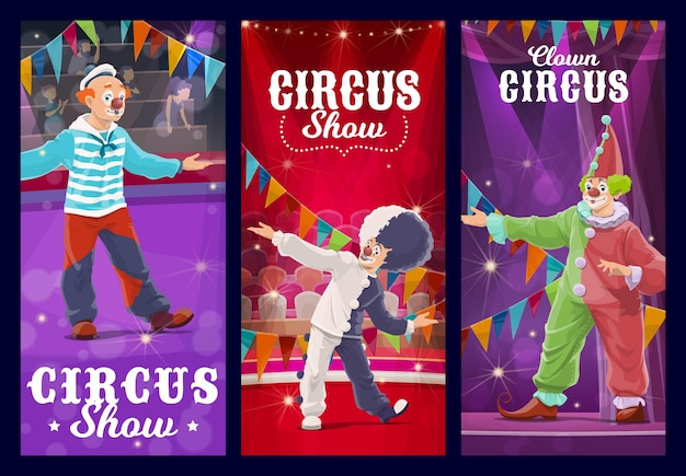 Clowns de cirque shapito, bouffons et personnages arlequins