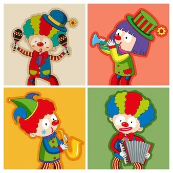 Clowns heureux jouant différents instruments