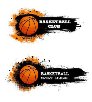 Club de basket-ball, bannières grungy de la ligue sportive de jeu de balle