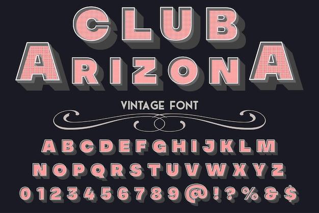 Club de conception d'étiquettes typographie style ancien arizona