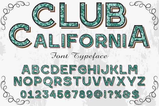 Club de design alphabet rétro californie