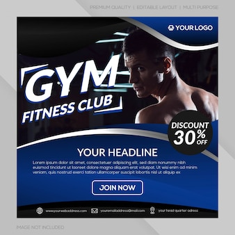 Club de fitness instagram post template