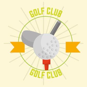 Club de golf avec boule emblème du design rétro