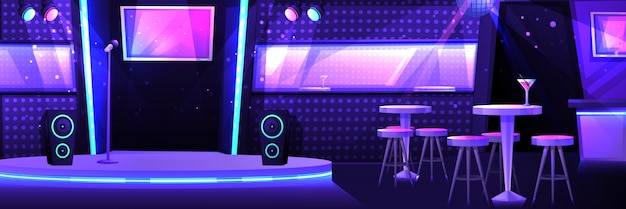 Club de karaoké avec une scène et un microphone