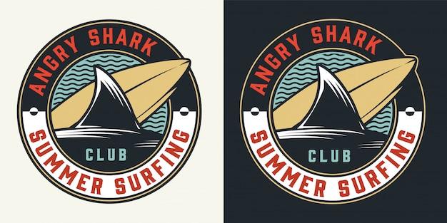 Club de surf vintage étiquette colorée ronde