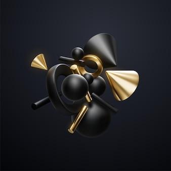 Cluster abstrait de formes géométriques noires et dorées