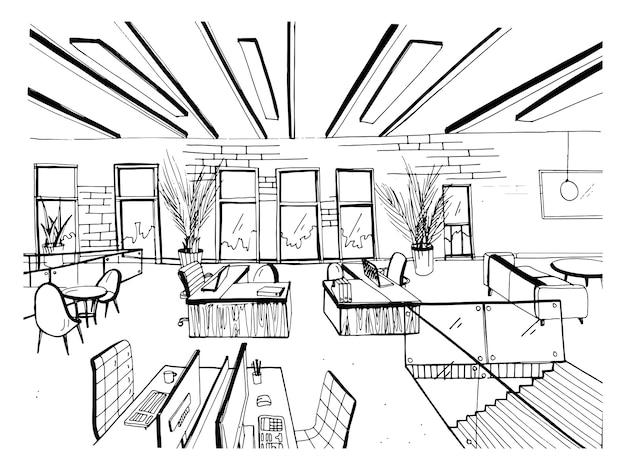 Cluster de coworking dessiné à la main. intérieurs de bureaux modernes, espace ouvert. espace de travail avec ordinateurs, ordinateurs portables, éclairage et lieu de repos. illustration de croquis de vecteur horizontal noir et blanc.
