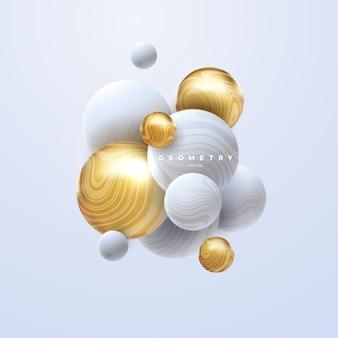 Cluster de sphères blanches et dorées 3d