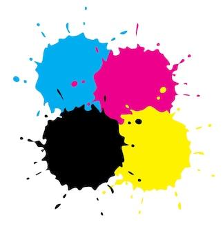 Cmyk grunge spots vector illustration