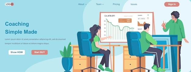 Coaching concept de bannière web simple