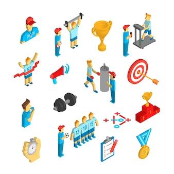 Coaching sport icône isométrique