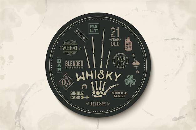 Coaster pour whisky et boisson alcoolisée