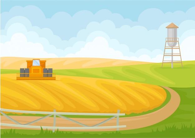 Cobine et station de pompage sur le terrain.