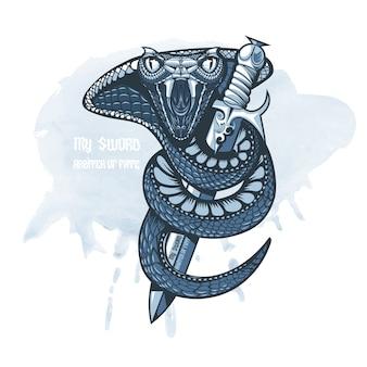 Cobra enroulé autour d'une épée et prêt à attaquer.
