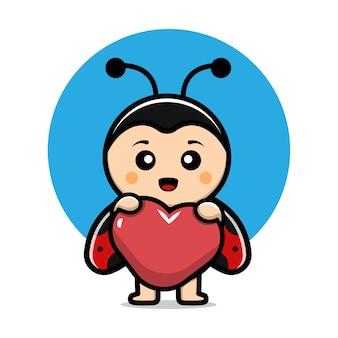 Coccinelle mignonne tenant une illustration de dessin animé de vecteur de coeur