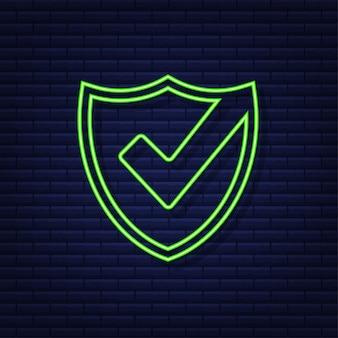 Coche. autocollant approuvé vert. style néon. illustration vectorielle.