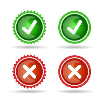 Coche et croix ligne insigne icône set vert et rouge