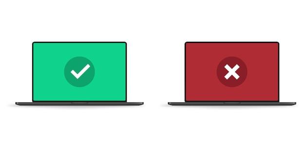 Coche et croix rouge sur un écran d'ordinateur portable réaliste