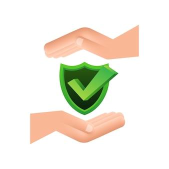 Coche suspendue au-dessus des mains autocollant étoile approuvé vert sur fond blanc